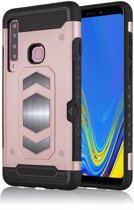 Ntech Samsung Galaxy A9 (2018) Luxe Armor Case Pashouder - Rose Goud