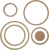 Muurdecoratie, cirkels, d: 8-23 cm, dikte 5 mm, MDF, 6stuks