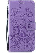 Samsung Galaxy S9 Bookcase hoesje Vlinders/takjes (paars)