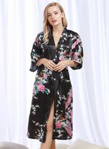 Chinese Kimono badjas ochtendjas zwart satijn dames maat XXL