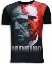 Local Fanatic El Padrino - Digital Rhinestone T-shirt - Zwart - Maten: S