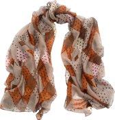 Sjaal bruin ruitmotief met dots