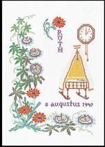 Thea Gouverneur Borduurpakket 868 Geboortetegelt Augustus - Linnen stof