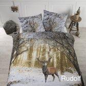 Papillon Rudolf - flanel - dekbedovertrek - tweepersoons - 200 x 200/220 - Multi