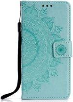 Shop4 - iPhone Xr Hoesje - Wallet Case Mandala Patroon Mint Groen