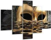 Glasschilderij Masker | Goud, Zilver, Grijs | 100x70cm 5Luik | Foto print op Glas |  F000570