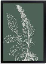 DesignClaud Vintage bloem blad poster - Groen - Puur Natuur Botanische poster A4 + Fotolijst zwart