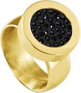 Quiges RVS Schroefsysteem Ring Goudkleurig Glans 18mm met Verwisselbare Zirkonia Zwart 12mm Mini Munt