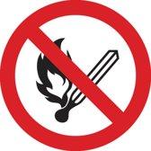Sticker met verbod vuur