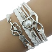 Fako Bijoux® - Multi Armband - Infinity Hart Cupido - Wit