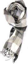 Zachte grijze sjaal met blokken design - Luxe acryl sjaal voor heren