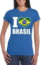 Blauw I love Brazilie fan shirt dames L
