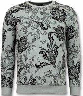 UNIMAN Flockprint Trui - Bladeren Sweater Heren - Grijs - Maten: L