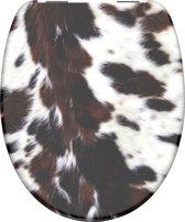 SCHÜTTE WC-Bril 82126 COW SKIN - Duroplast - Soft Close - Verchroomde Scharnieren - Decor -2-zijdige Print