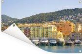 Kleurrijke gebouwen in de Franse stad Nice Tuinposter 180x120 cm - Tuindoek / Buitencanvas / Schilderijen voor buiten (tuin decoratie) XXL / Groot formaat!