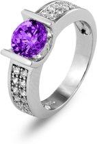 Silventi 943282236-58 Zilveren ring - Rond zirkonia 6 mm - Zilverkleurig / Paars