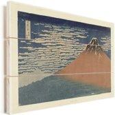 Helder weer en een zuidelijke wind - Schilderij van Katsushika Hokusai Vurenhout met planken 80x60 cm - Foto print op Hout (Wanddecoratie)