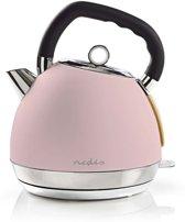 Nedis Elektrische retro fluitketel design waterkoker 1.8 Liter 2200 watt Soft-touch roze
