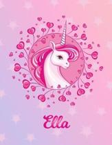 Ella: Ella Magical Unicorn Horse Large Blank Pre-K Primary Draw & Write Storybook Paper - Personalized Letter E Initial Cust