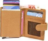 Figuretta - creditcardhouder- pasjeshouder- Cardprotector - Leer - Camel- bruin