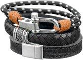Frank 1967 7FR SET005 Armbanden Set Zwart - 3 Stuks - Geweven Leer en Nylon - One-size - Zwart