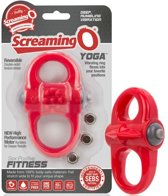 Screaming O - cockring - rode dubbele penisring - yoga - 100% siliconen - vibrerende ring