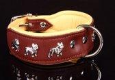 Dog's Companion Leren Halsband - Franse Bulldog - 45-53 cm x 40 mm - Bruin/Naturel