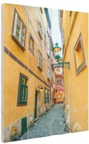 Smalle straat in Wenen Hout 20x30 cm - klein - Foto print op Hout (Wanddecoratie)