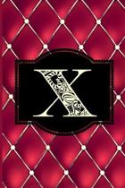 X: Monogram Journal or Diary. Captivating Ruby Red and Gold Diamond Design with a Decorative Uppercase Initial with Textu