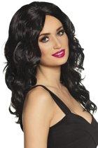 Zwarte Pruik met Lang Krullend Haar
