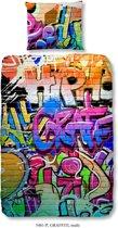 Good Morning 5481-P Graffiti - kinderdekbedovertrek - eenpersoons - 140x200/220 cm - katoen - multi