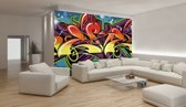 Fotobehang Papier Graffiti, Street art   Blauw   368x254cm