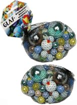 158x Gekleurde speelgoed knikkers - Verschillende formaten glazen knikkers - Knikkeren ouderwets buitenspeelgoed