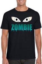 Halloween - Halloween zombie ogen t-shirt zwart heren - Halloween kostuum S