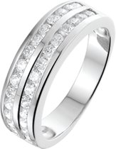 The Jewelry Collection Ring Zirkonia - Zilver Gerhodineerd