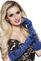 Blauwe lange handschoenen voor vrouwen - Verkleedattribuut
