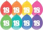 Ballonnen - 18 jaar - 8x diverse kleuren