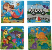 Charl's toys vierkant houten puzzel 4 assorti