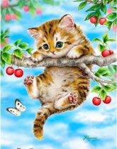Diamond Painting Pakket Kitten hangend aan een tak - 25x30 cm - Volledig - SEOS Shop ®