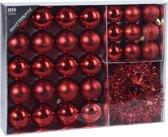 32x Rode kunststof kerstballen 4-5-8 cm/folieslinger  - Mat/glans/glitter - Onbreekbare kerstballen - Kerstboomversiering rood