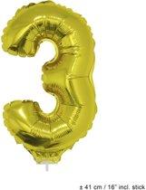 Helium Ballon Nummer 3 - Goud - 41 Cm