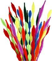 Chenille, dikte 5-12 mm, l: 30 cm, diverse kleuren, gegolfd, 28div