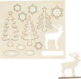 DIY Houten figuren, bos met herten, l: 15,5 cm, b: 17 cm, triplex, 1doos, dikte 3 mm