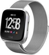 Milanees Horloge Band Voor Fitbit Versa (Lite)- Milanese Armband Strap Polsband RVS - Small Zilver Kleurig