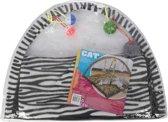 Katten/kitten speelmat met zebra print 55 cm