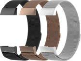 Fitbit Charge 3 Milanese Horloge Bandjes Zilver, Zwart, & Rosé Goud (Small) 2019 met magneetsluiting - Verstelbaar - RVS - Activity Tracker Wearablebandje - Milanees horloge armbandje / polsbandje - horloge band voor FitBit Charge 3 Watch