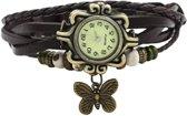 Dames Horloge - Leer - Zwart - 18 mm
