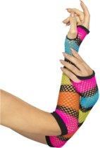 Lange fluo netstof handschoenen voor vrouwen - Verkleedattribuut