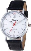 Hidzo Horloge Geneve ø 37 mm - Wit/Zwart - In horlogedoosje