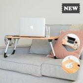 Bedtafel Inklapbaar - Laptoptafel - Tafel Met Bekerhouder en 4 USB Poorten - Maat L 62 cm x H 28 cm